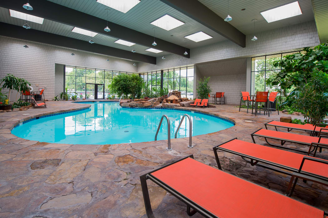 Beautiful indoor pool at Silver Springs Apartments in Wichita, Kansas