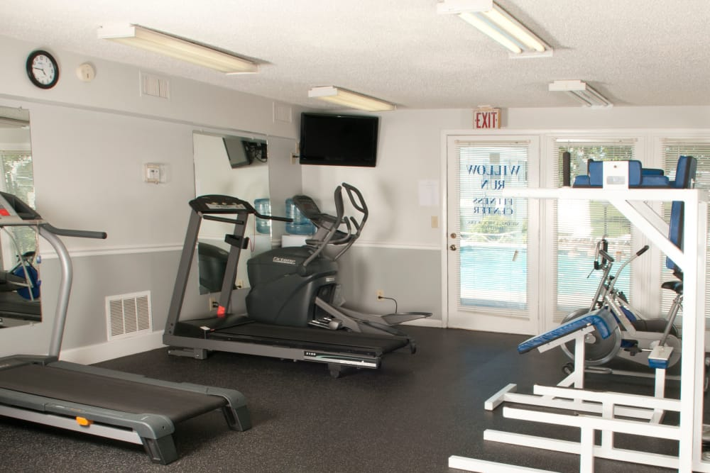 Fitness center equipment at Willow Run in Clinton, Tennessee