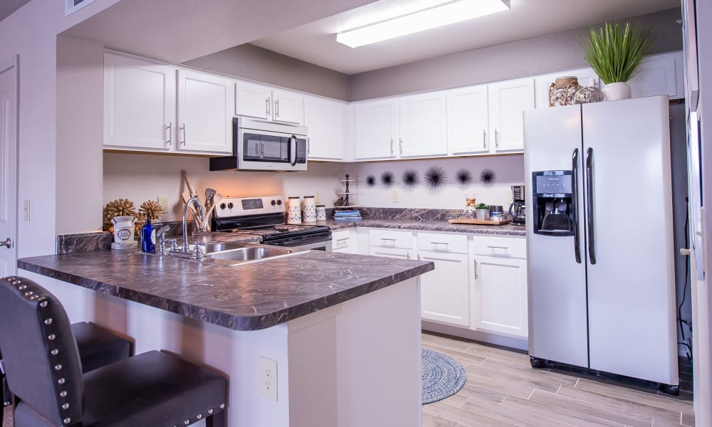 Spacious kitchen with plenty of counter space at Scissortail Crossing Apartments in Broken Arrow, Oklahoma