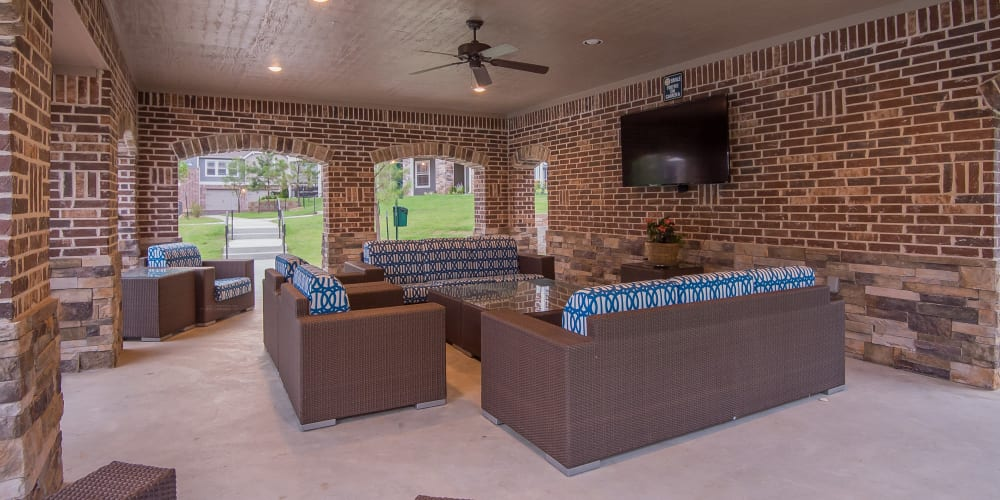 Outdoor poolside lounge at Scissortail Crossing Apartments in Broken Arrow, Oklahoma