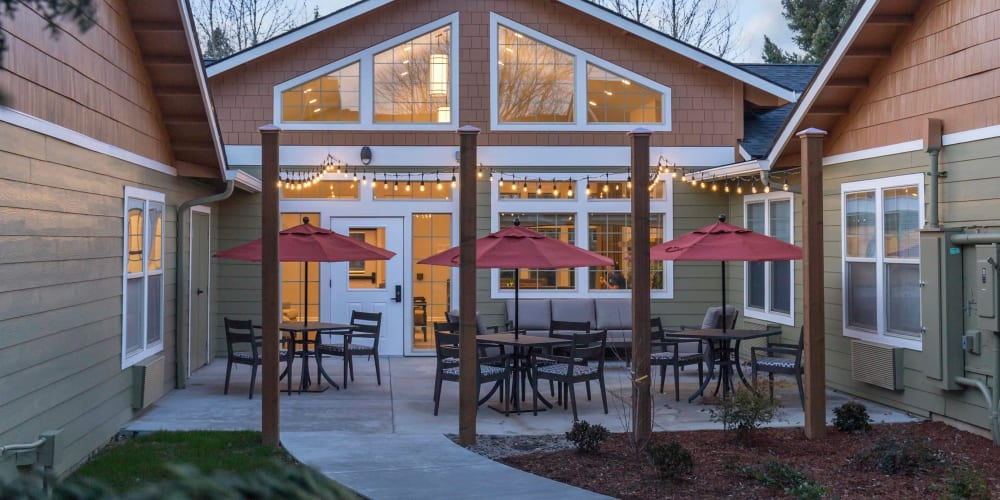 Beautiful, private back patio at The Springs at Clackamas Woods in Milwaukie, Oregon