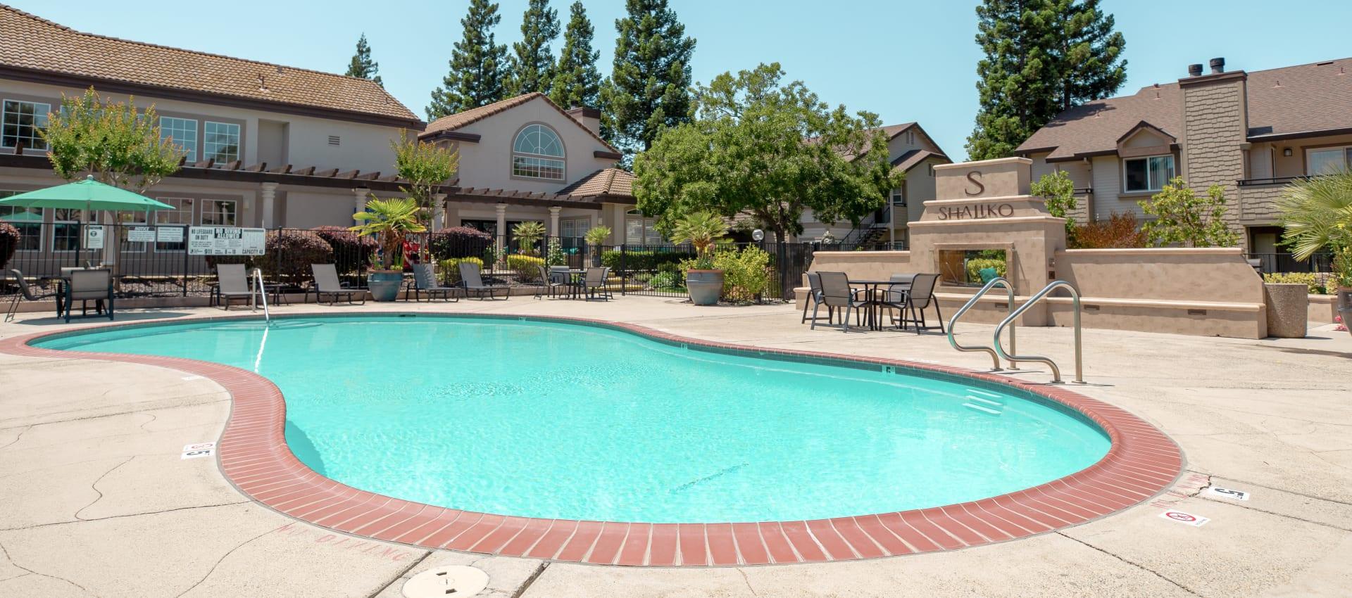 Swimming pool and spa at Shaliko in Rocklin, California.