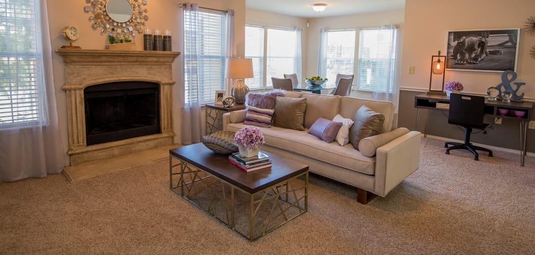 Spacious living room at Villas at Aspen Park in Broken Arrow, Oklahoma