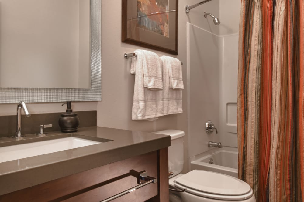Bathroom layout at Keystone Apartments in Madison, Wisconsin