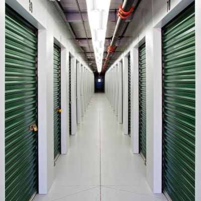 Hall of self storage units for rent at Neighborhood Storage in Ocala, FL