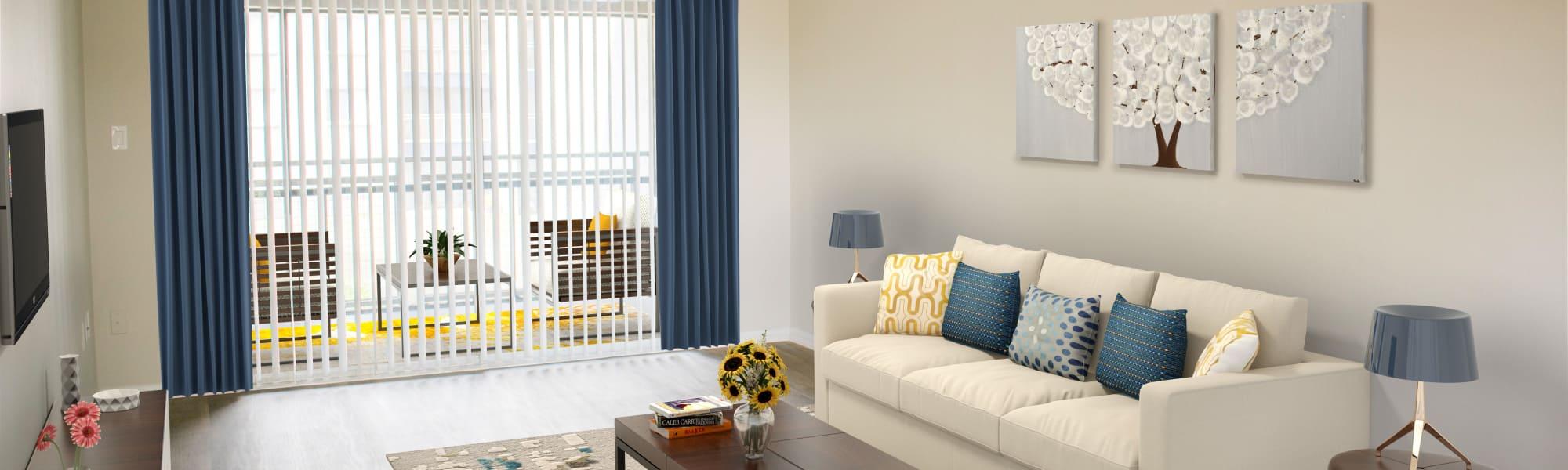 Cozy living room at Promenade at Edgewater in Dunedin