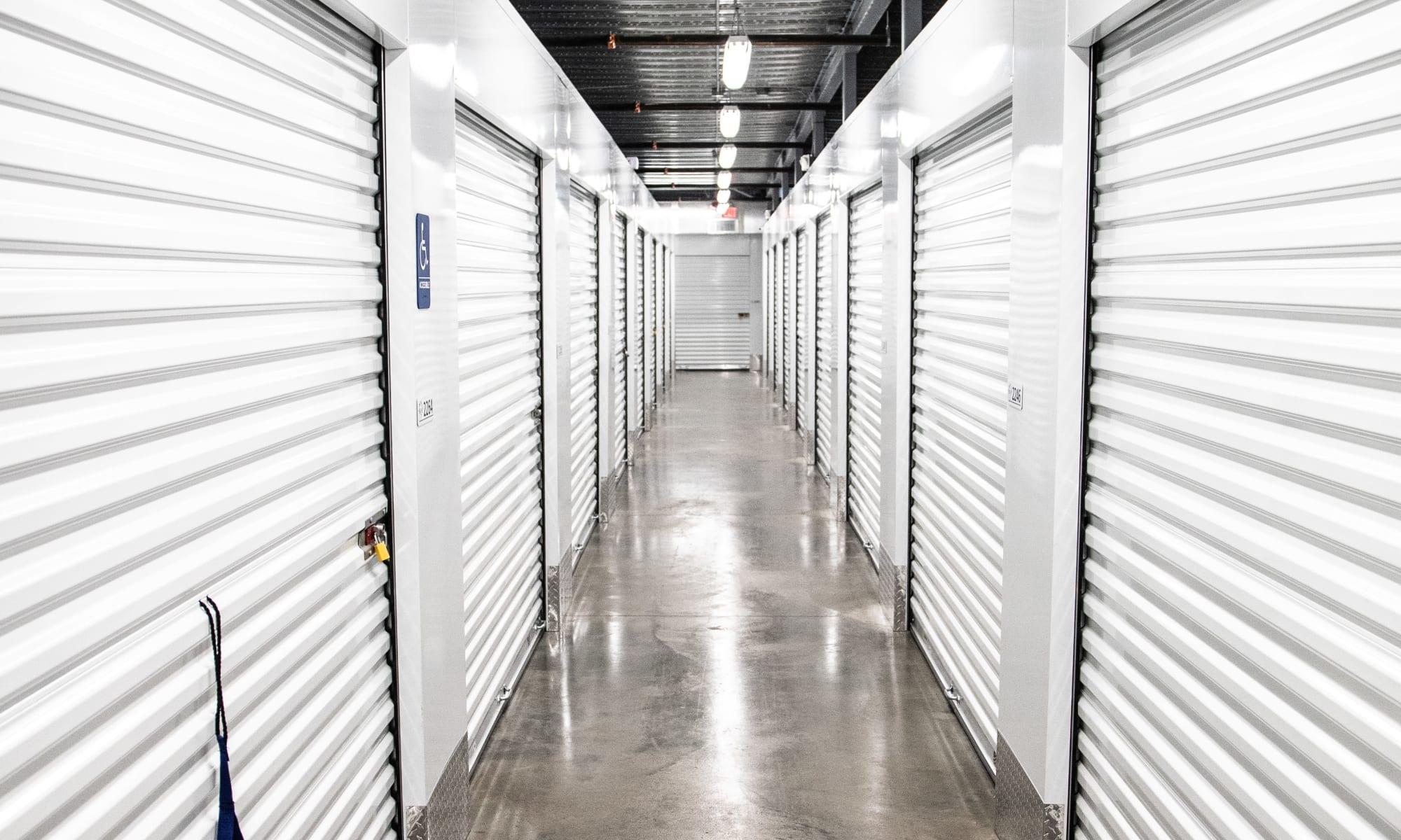 Indoor access hallway for storage units