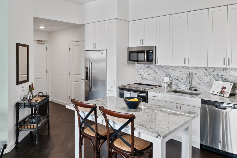 Kitchen with European style cabinets and stainless steel appliances at Town Lantana in Lantana, Florida