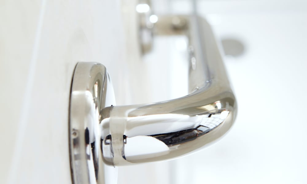 Safety grab bar in bathroom at The Oaks at Four Corners home in Silver Spring, Maryland