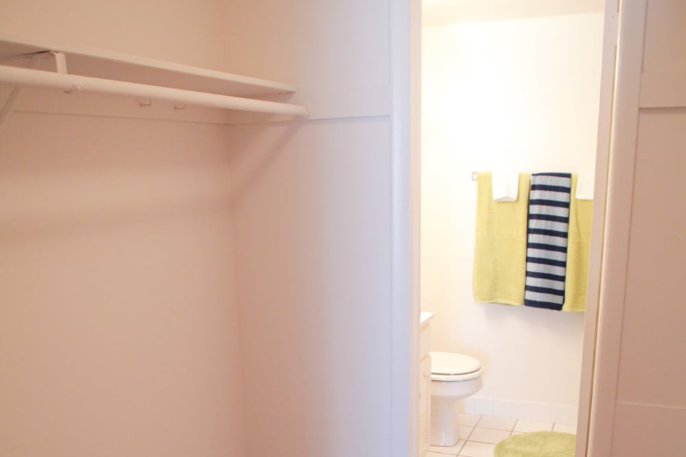 Walk-in closets and bathroom view in Lime Tree Village