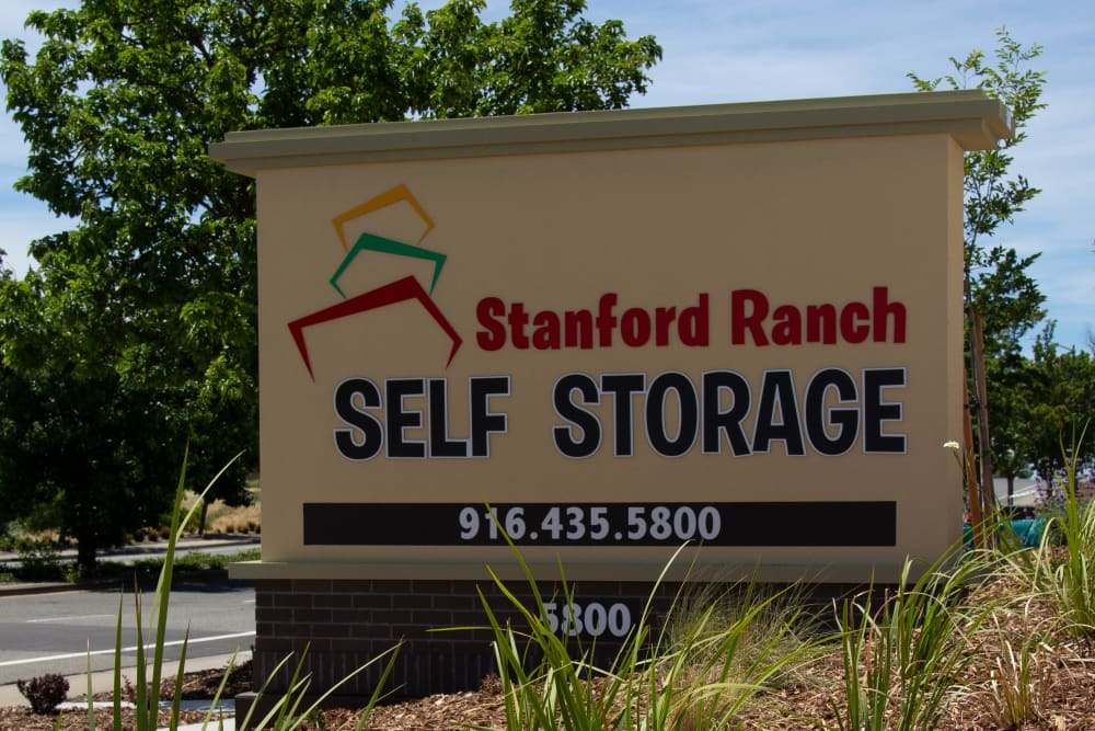 Sign in front of Stanford Ranch Self Storage in Rocklin, CA