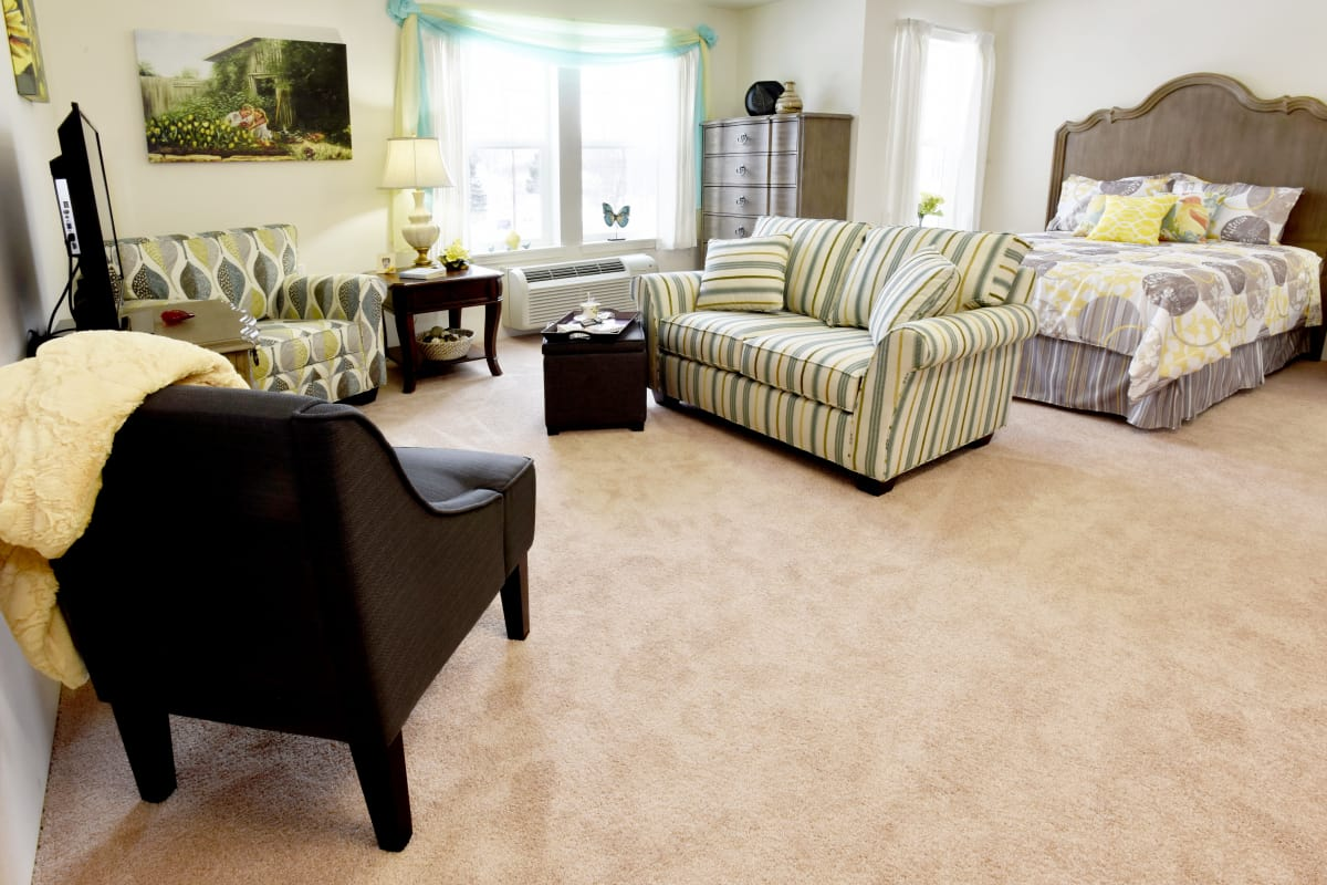 Studio apartment at Colonial Gardens Gracious Retirement Living in Beverly, Massachusetts