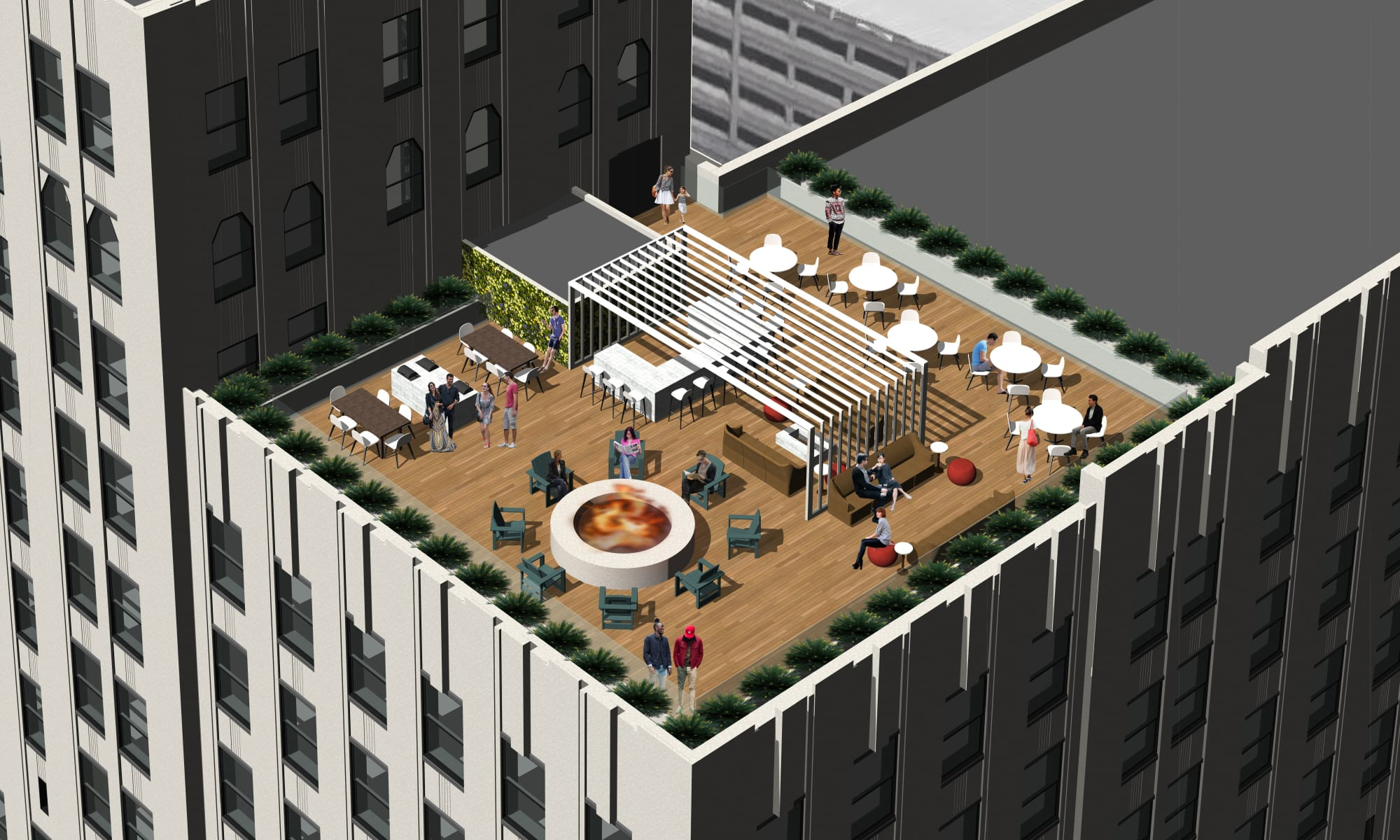 Rendering of rooftop patio at The Kahn in Detroit, Michigan
