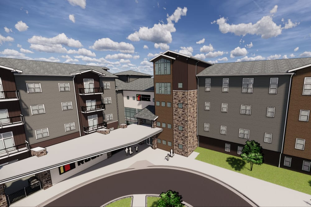 Rendering of exterior and circular drive at Turners Rock in Springfield, Missouri.