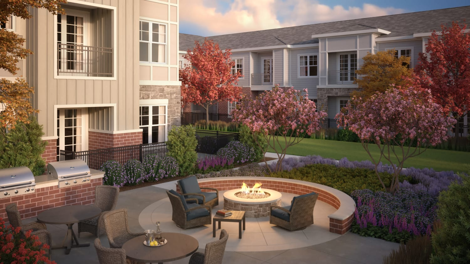 Outdoor fire pit at Avenida Naperville senior living apartments in Naperville, Illinois