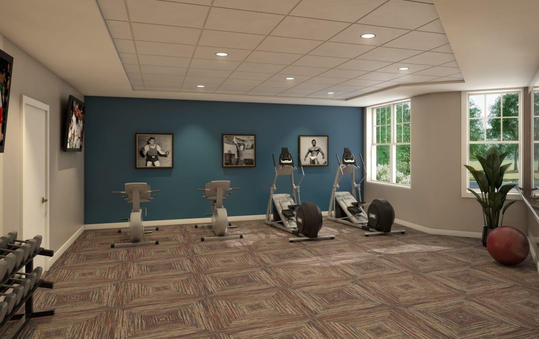 Fitness studio rendering at Anthology of Farmington Hills in Farmington Hills, Michigan