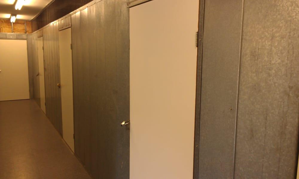 VP Self Storage features a clean hallway in Tarzana, California