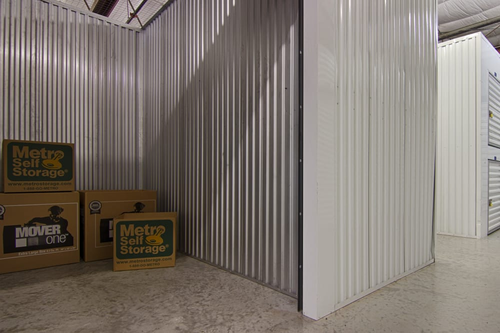 Open indoors unit at Metro Self Storage in Sarasota, Florida