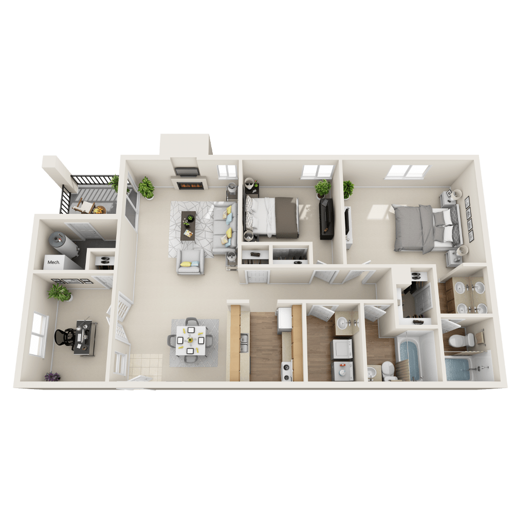 Cascade floor plan at Vistas at Stony Creek Apartments