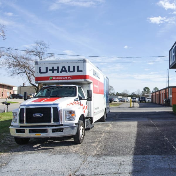 Moving trucks to rent at Fort Knox Self Storage in Montgomery, Alabama.