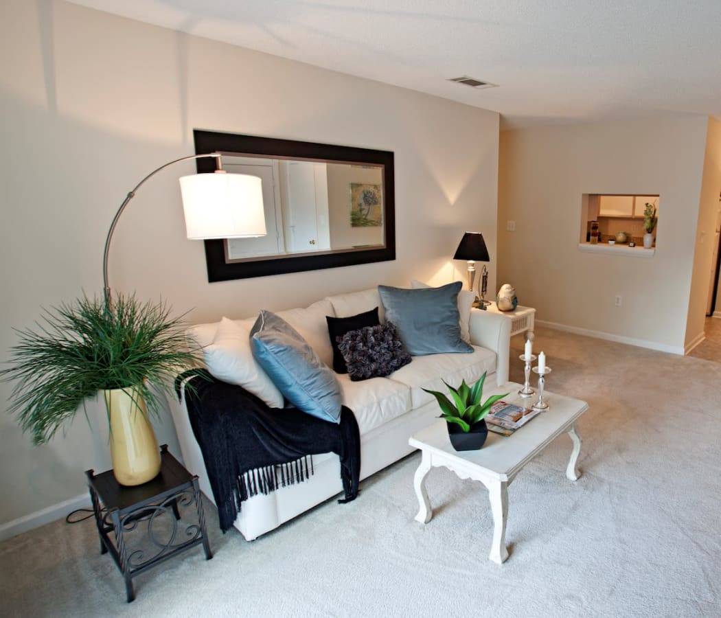 Fieldstone Apartments offers a modern living room in Mebane, North Carolina