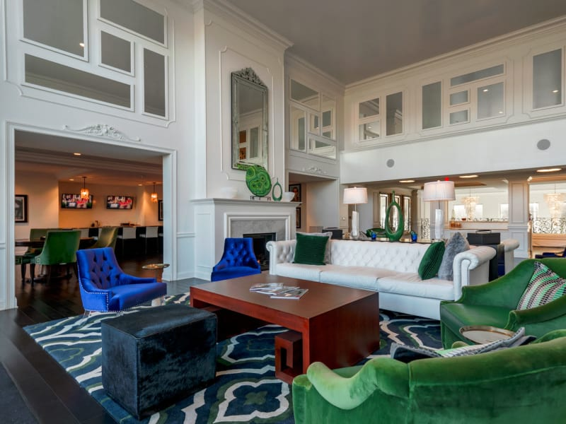 Clubhouse lounge with a fireplace at The Royal Athena in Bala Cynwyd, Pennsylvania