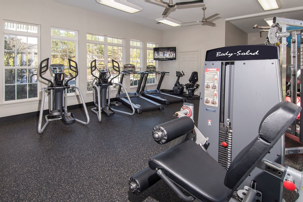 Fully equipped fitness center at Apartments at the Venue in Valley, Alabama