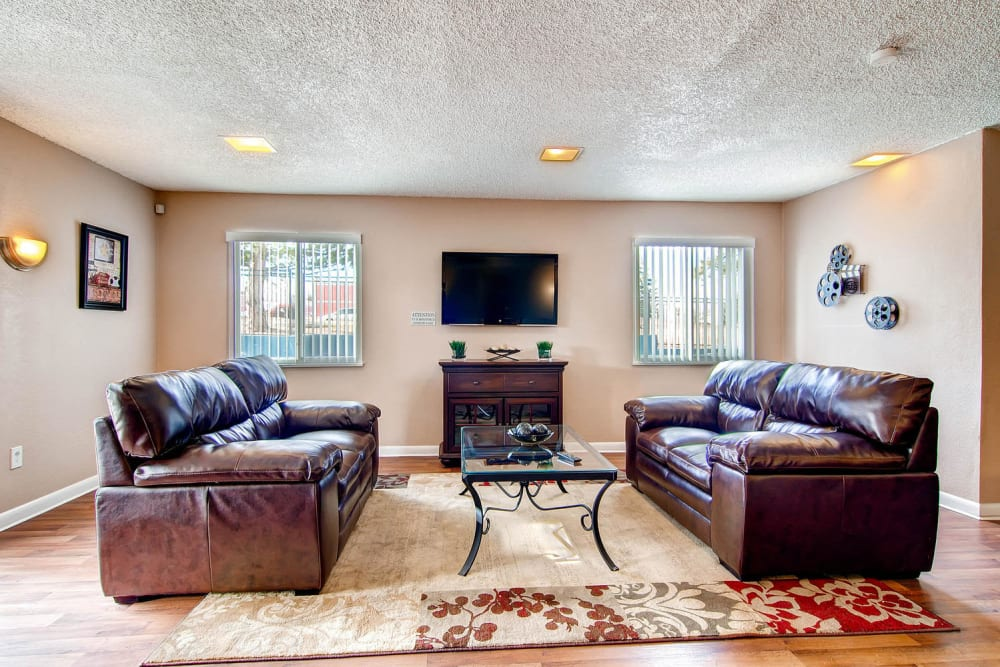 Clubhouse seating area at Arvada Green Apartment Homes in Arvada, Colorado