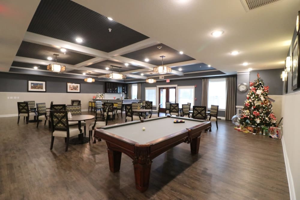 A billiards table in the activity room at Harmony at Five Forks in Simpsonville, South Carolina