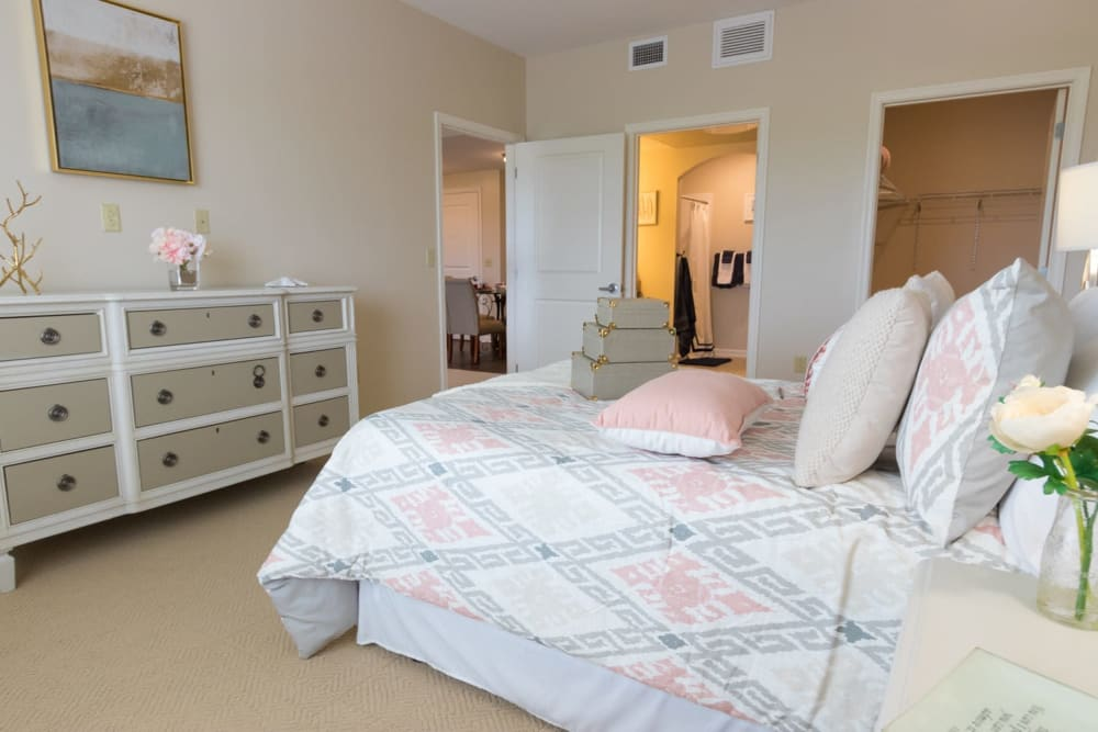A spacious, decorated bedroom at Harmony at Independence in Virginia Beach, Virginia