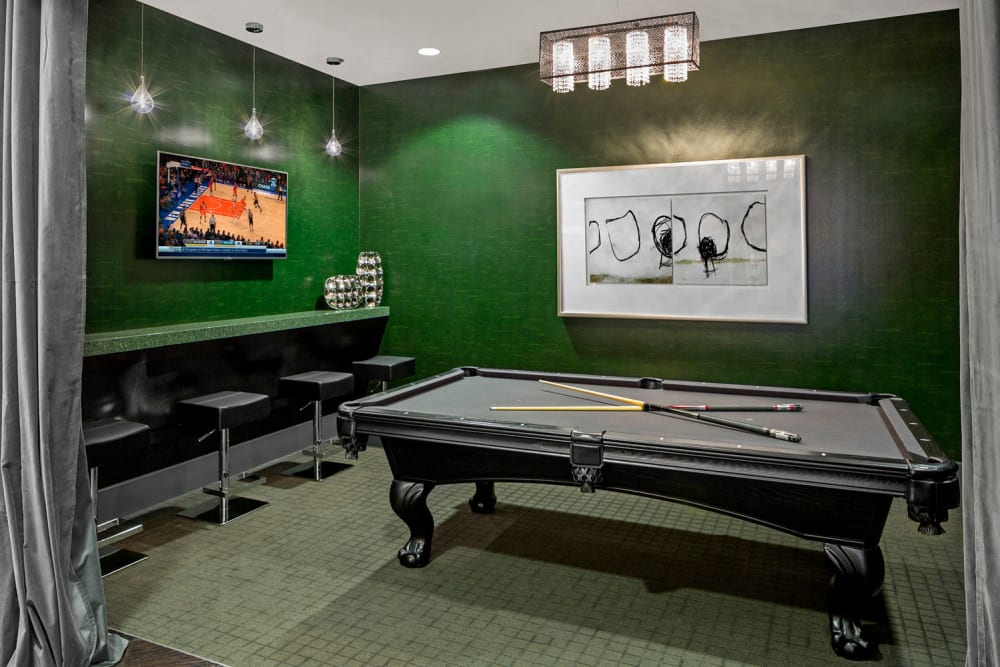 Billiards table in Skyline New Rochelle's clubhouse in New Rochelle, New York