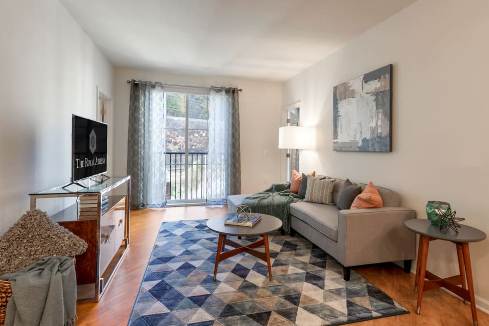 furnished living room at The Royal Athena in Bala Cynwyd, Pennsylvania