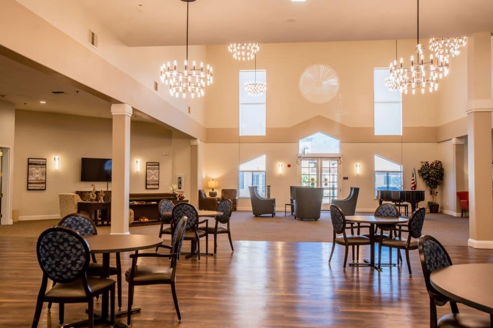 Spacious lobby at Carefield Pleasanton in Pleasanton, California.