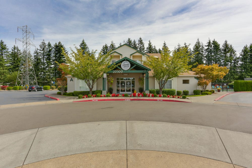The leasing office at The Landings at Morrison Apartments in Gresham, Oregon