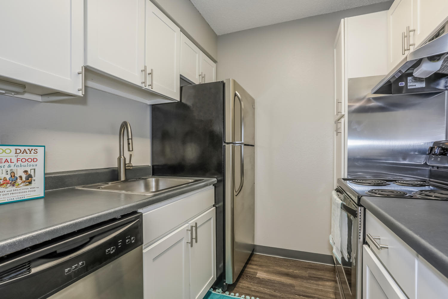 Updated kitchen at City Center Station Apartments in Aurora, Colorado