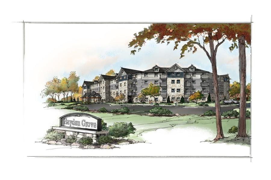 New rendering of Hayden Grove Senior Living in Bloomington, Minnesota