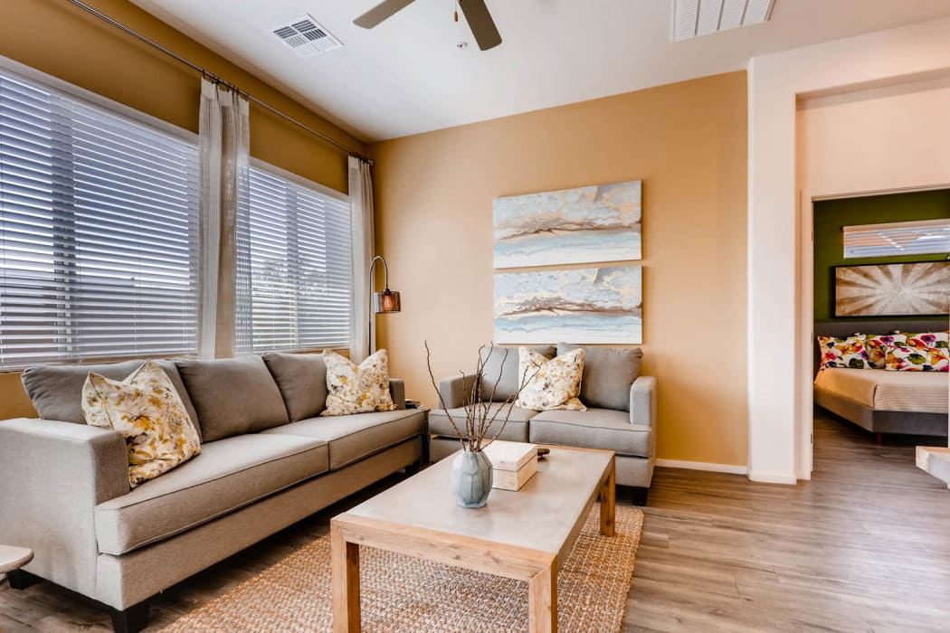Model living room at Avilla Lehi Crossing apartments in Mesa, Arizona