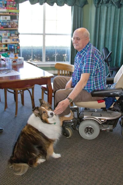 Senior man in a motorized chair petting a dog at Quail Park of Granbury in Granbury, Texas