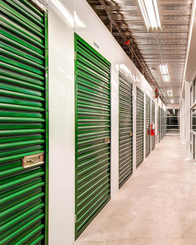 Hallway of Greenbox Self Storage units in Denver
