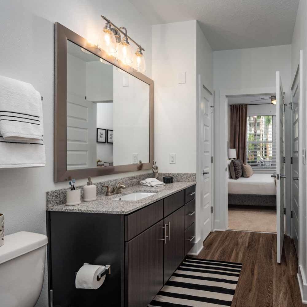 Model bathroom at The Jaxon in Jacksonville, Florida