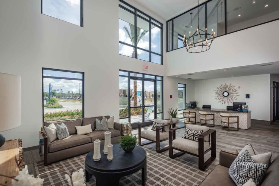 A living room that is great for entertaining at The Jaxon in Jacksonville, Florida