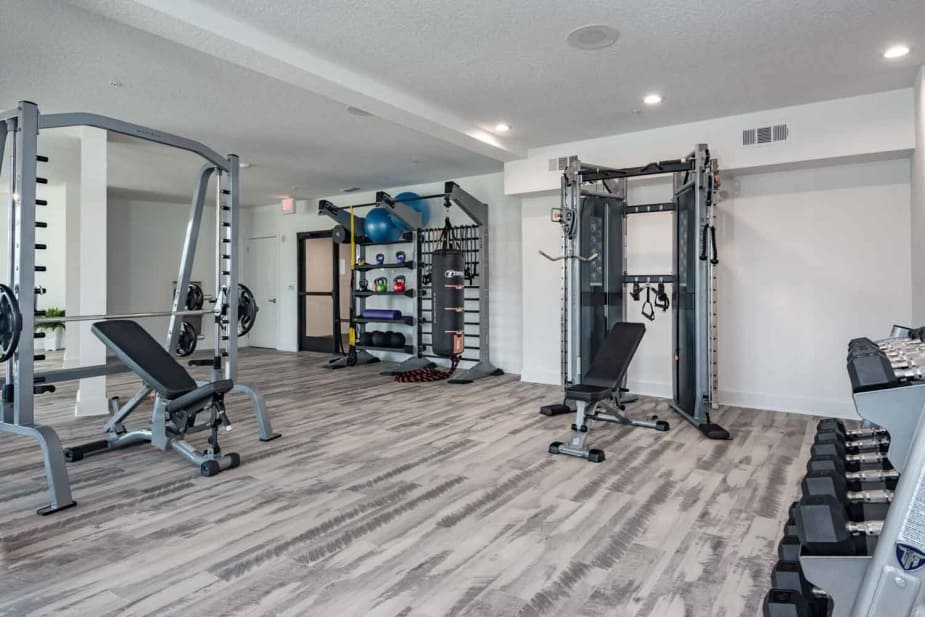 Modern fitness center at apartments in Jacksonville, Florida
