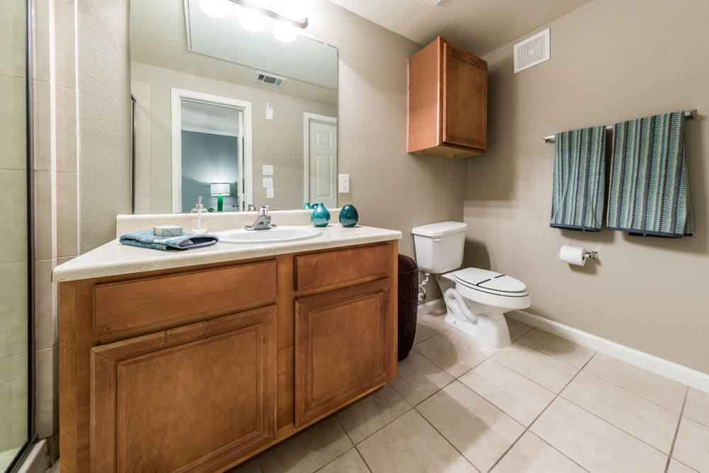 Roomy bathroom with wood cabinets at Marquis at The Cascades in Tyler, Texas
