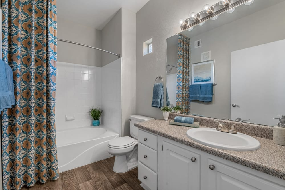 Bathroom with full size bathtub and wood flooring at Alante at the Islands in Chandler, Arizona
