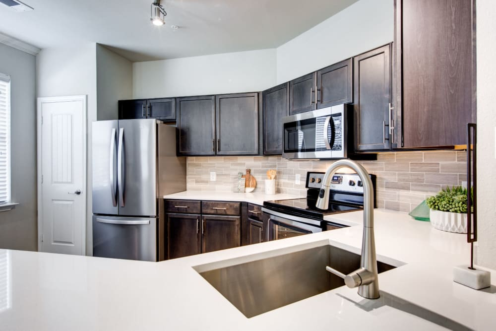 Modern style kitchen at Marquis at Cinco Ranch in Katy, Texas