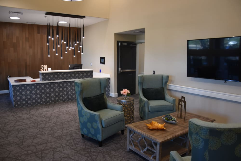 Front desk and interior community space at Shadow Mountain Memory Care in Phoenix, Arizona
