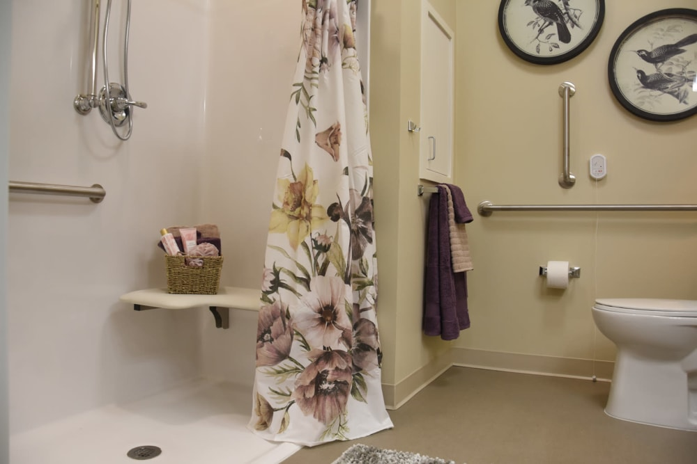 Bathroom with easy step-in shower design at Shadow Mountain Memory Care in Phoenix, Arizona