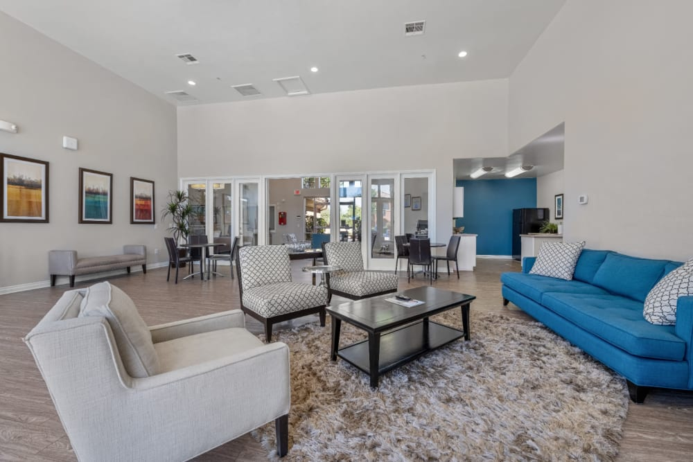 Spacious clubhouse within kitchen and comfortable seating at Alante at the Islands in Chandler, Arizona