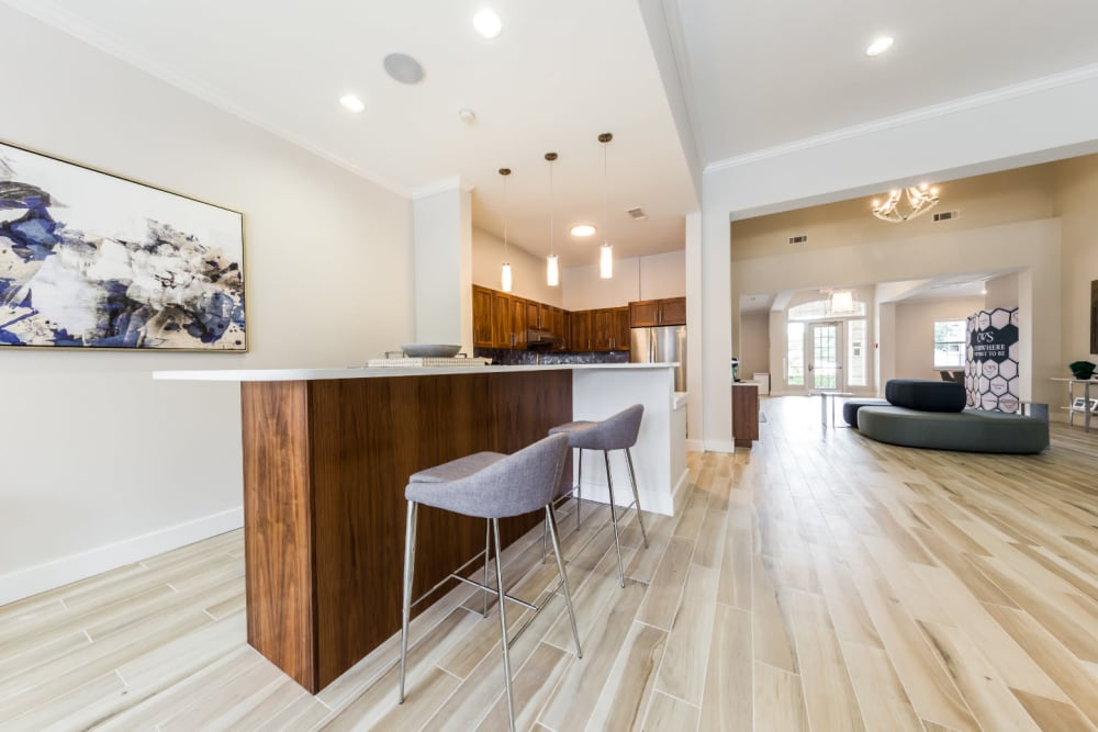 Community kitchen at Marquis at Cinco Ranch in Katy, Texas