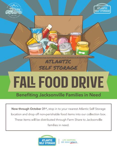 Food drive flyer for Atlantic Self Storage